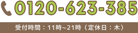 0120−623−385 受付時間:11時〜21時(定休日:木)