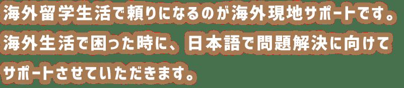留学生活で頼りになるのが海外現地サポートです。海外生活で困った時に、日本語で問題解決に向けてサポートさせていただきます。