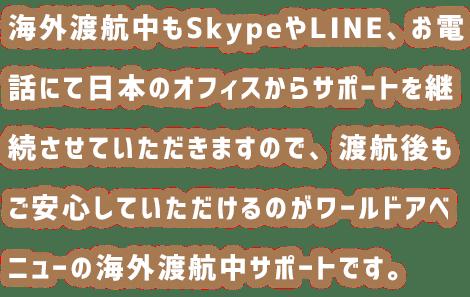 海外渡航中もSkypeや電話にて日本のオフィスからサポートを継続してさせていただきますので、渡航後もご安心していただけるのがワールドアベニューの海外渡航中サポートです。
